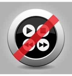 Gray chrome button - no four music control buttons vector