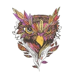 Abstract colored owl print vector image