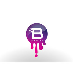B letter splash logo purple dots and bubbles vector