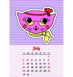 Calendar 2017 with cats july in cartoon 80s-90s vector