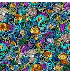 Cartoon doodles under water life seamless pattern vector image vector image