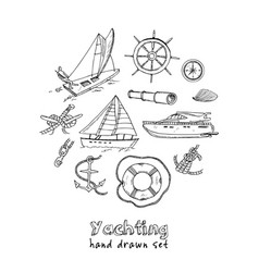 Collection of yachting doodle icons vector