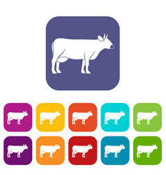 Cow icons set flat vector