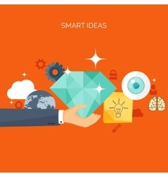 Flat header new ideas smart vector