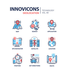Geolocation - line design icons set vector