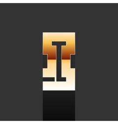 Gold letter i shape logo element vector