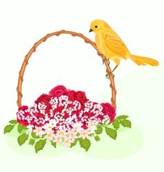 Golden-bird-and-flowers vector