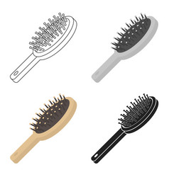 Hairbrush icon in cartoon style isolated on white vector