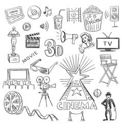 Hand drawn cinema vector image vector image