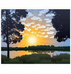 lake at sunrise vector image