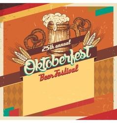 Oktoberfest beer festival vintage card vector image