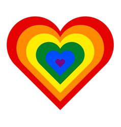 Rainbow pride flag lgbt movement in heart shape vector