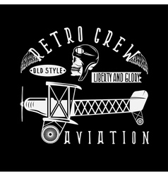 Retro aviation design with skullairplane and wings vector