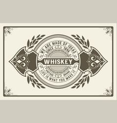 retro logo for whiskey or other products with vector image vector image