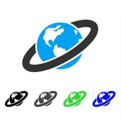 Ringed planet flat icon vector