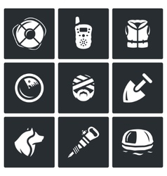 Set of search and rescue service icons vector