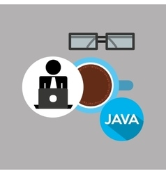 Silhouette programmer working laptop break time vector