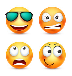 Smiley with glassessmiling emoticon yellow face vector