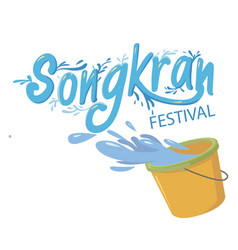 songkran festival bucket of water background vector image