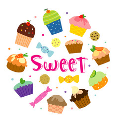 sweet cupcake cartoon vector image vector image