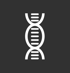 White icon on black background human dna vector