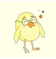 yellow cartoon bird vector image vector image