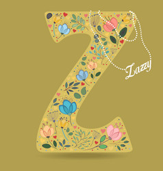yellow letter z with floral decor and necklace vector image