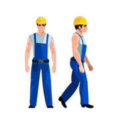 young builder in a hard hat and uniform vector image vector image