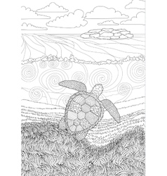 Swimming turtle for anti stress Coloring vector image