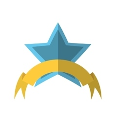 Blue star shield with stripes and yellow ribbon vector