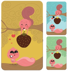 Squirrel love couple valentines gift vector