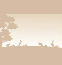Silhouette of bunny on garden landscape vector