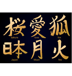 colllection of kanji hieroglyph vector image