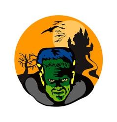 Frankenstein haunted house retro vector
