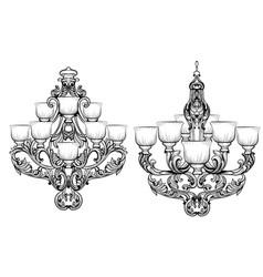 rich baroque classic chandelier luxury decor vector image