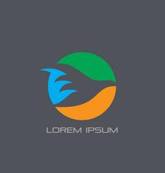 Circle bird silhouette logo vector