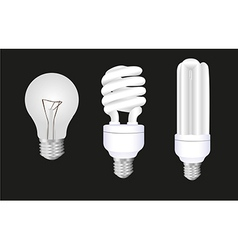 Three styles of bulb isolated on black background vector