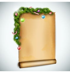 Old Christmas Sheet Of Paper vector image