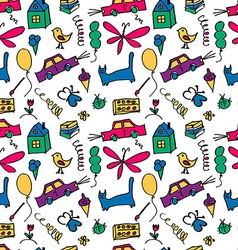 Seamless pattern drawn in a childlike style vector