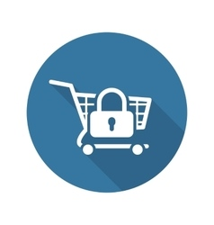 Secure shopping icon flat design vector