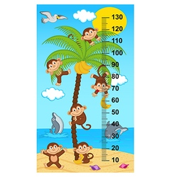 Palm tree height measure with monkeys vector
