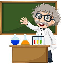 A scientist in front of the empty blackboard vector image vector image