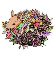 Abstract colored hedgehog print vector image