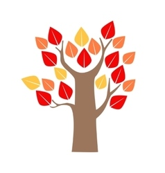 Cartoon Tree Red and Yellow Oak vector image