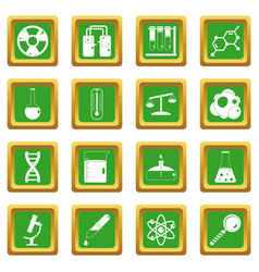 Chemical laboratory icons set green vector