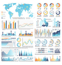 collection of infographics isolated vector image