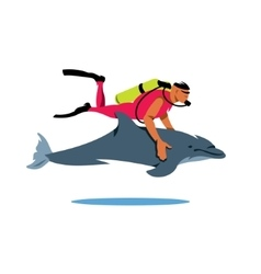 Diver and Dolphin Cartoon vector image vector image