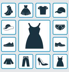 Garment icons set collection of heel footwear vector