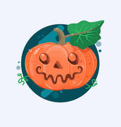 Halloween pumpkin with scary face on white vetor vector