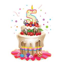 Happy Birthday cake 5 vector image vector image